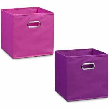 2x opbergmanden kastmanden voor meisjeskamer roze en paars 32 x 32 cm