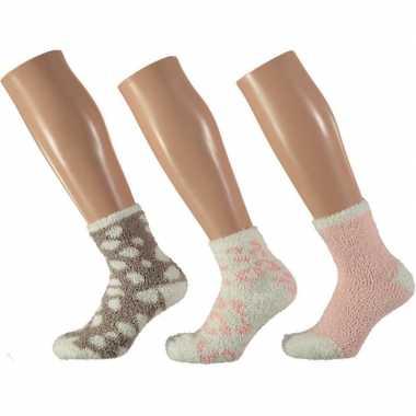 3x bedsokken panterprint roze/wit voor meisjes