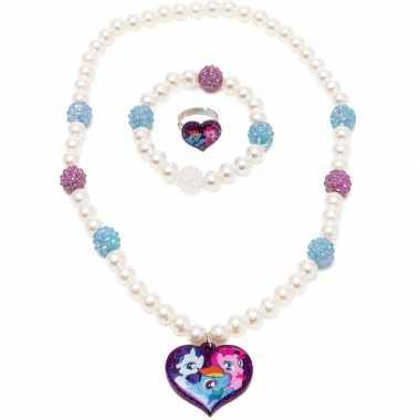 3x my little pony sieraden set ring/armband/ketting voor meisjes