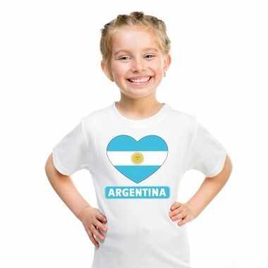 Argentinie hart vlag t-shirt wit en meisjes
