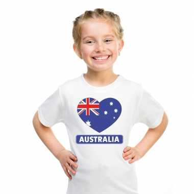 Australie hart vlag t shirt wit en meisjes