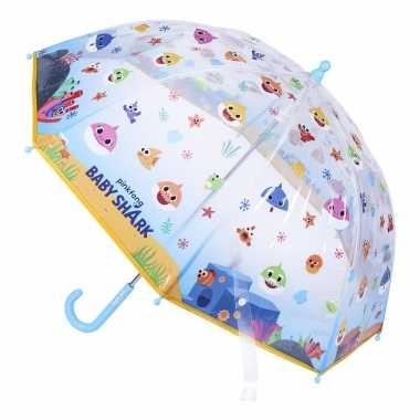 Baby shark gekleurde kinderparaplu voor /meisjes 71 cm