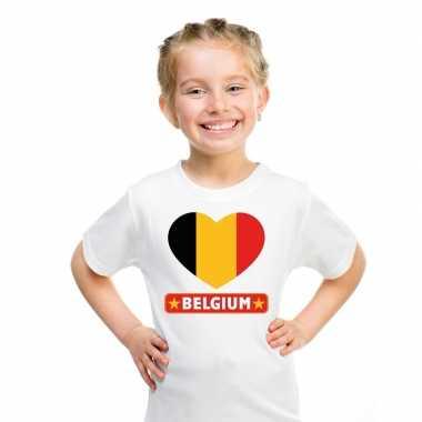 Belgie hart vlag t shirt wit en meisjes