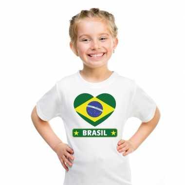Brazilie hart vlag t-shirt wit en meisjes