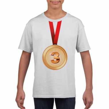 Bronzen medaille kampioen shirt wit en meisjes