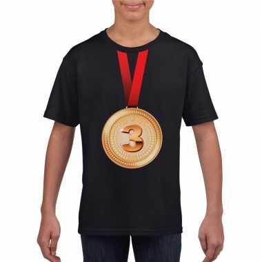 Bronzen medaille kampioen shirt zwart en meisjes