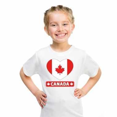Canada hart vlag t shirt wit en meisjes