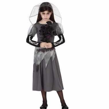 Carnavals zombie bruid grijs voor meisjes