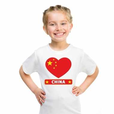China hart vlag t-shirt wit en meisjes