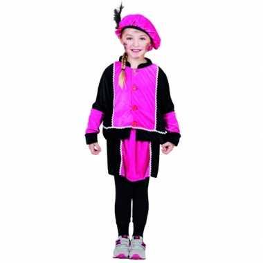 Compleet fuchsia pieten jurkje voor meisjes