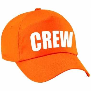 Crew pet /cap oranje met witte bedrukking meisjes en