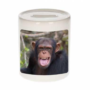 Dieren foto spaarpot chimpansee 9 cm apen spaarpotten en meisjes