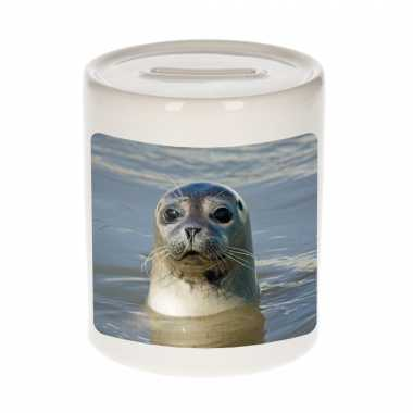 Dieren foto spaarpot grijze zeehond 9 cm zeehonden spaarpotten en meisjes