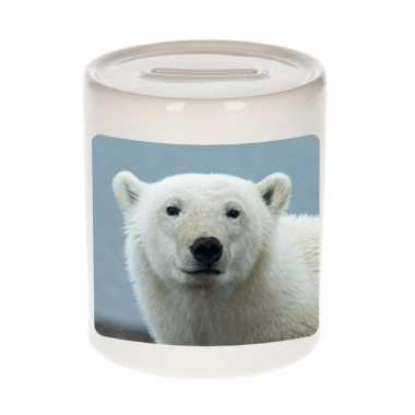 Dieren foto spaarpot grote ijsbeer 9 cm ijsberen spaarpotten en meisjes