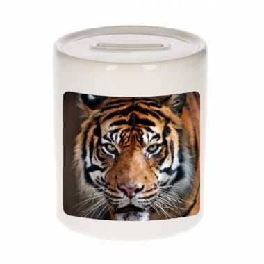 Dieren foto spaarpot tijger 9 cm tijgers spaarpotten en meisjes