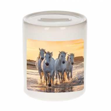 Dieren foto spaarpot wit paarden 9 cm paarden spaarpotten en meisjes