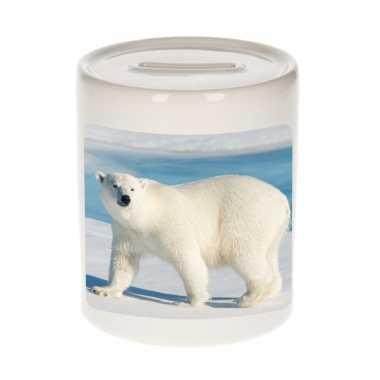 Dieren foto spaarpot witte ijsbeer 9 cm ijsberen spaarpotten en meisjes