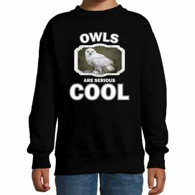 Dieren sneeuwuil sweater zwart kinderen owls are cool trui en meisjes