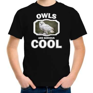 Dieren sneeuwuil t shirt zwart kinderen owls are cool shirt en meisjes