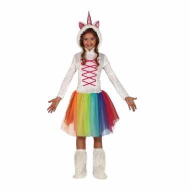 Dierenpak eenhoorn jurk wit met capuchon voor meisjes