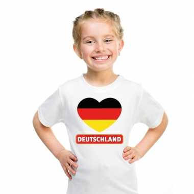 Duitsland hart vlag t shirt wit en meisjes