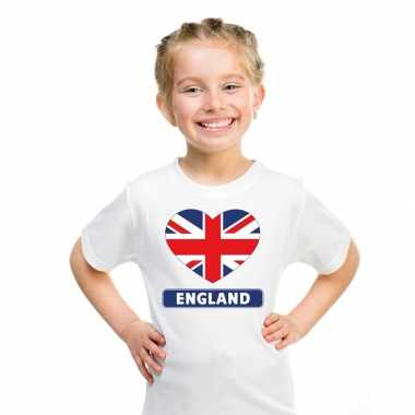 Engeland hart vlag t-shirt wit en meisjes