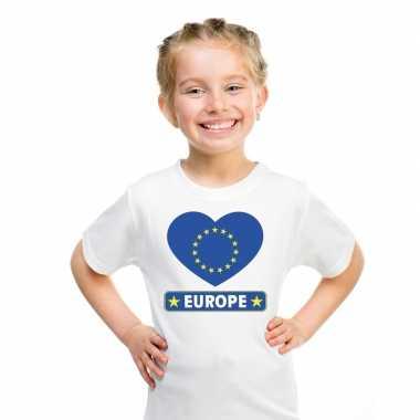 Europa hart vlag t shirt wit en meisjes
