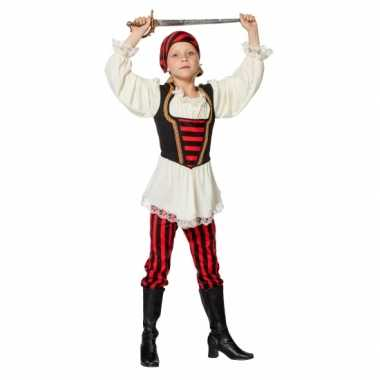 Feest piraten kleding rood/zwart voor meisjes