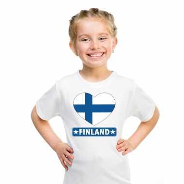 Finland hart vlag t-shirt wit en meisjes