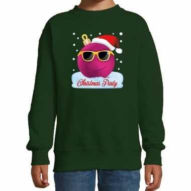 Foute kersttrui / sweater coole kerstbal groen voor meisjes