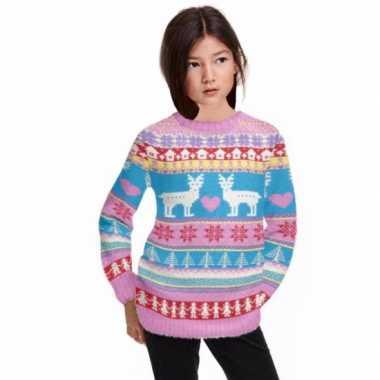 Foute print meisjes truien roze