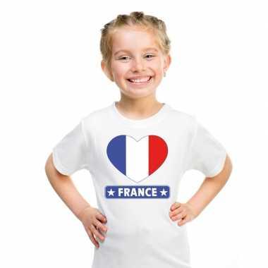 Frankrijk hart vlag t shirt wit en meisjes