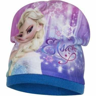 Frozen fleece muts elsa blauw voor meisjes