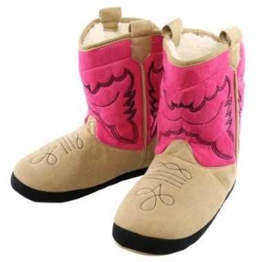 Fuchsia cowboylaarzen sloffen voor meisjes