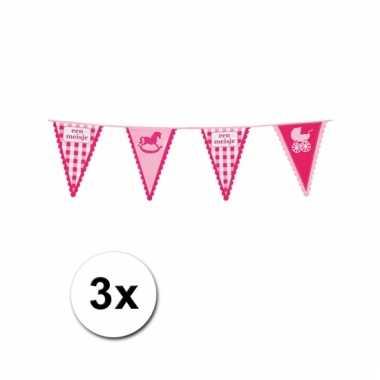 Geboorte vlaggenlijnen meisjes 3 stuks