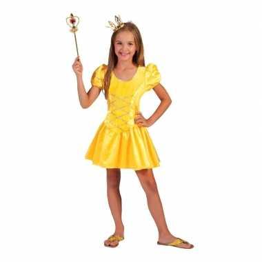 Geel prinsessen verkleed jurkje voor meisjes