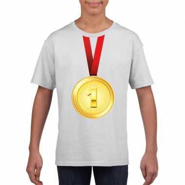 Gouden medaille kampioen shirt wit en meisjes