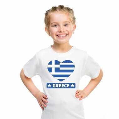 Griekenland hart vlag t shirt wit en meisjes