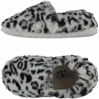 Grijze panterprint/luipaardprint ballerina pantoffels/sloffen voor meisjes