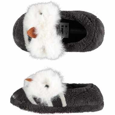 Grijze uilen ballerina pantoffels/sloffen voor meisjes