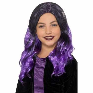 Halloween lange zwart met paarse meisjespruik met krullen