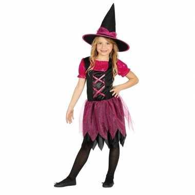 Halloween zwart/roze heksen kostuum voor meisjes