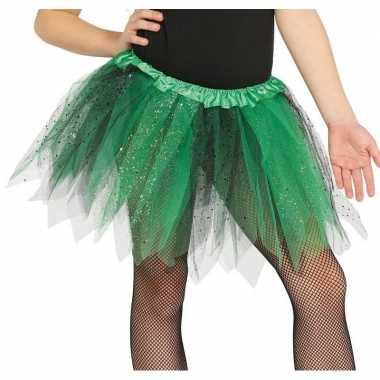Heksen verkleed petticoat/tutu groen/zwart glitters voor meisjes