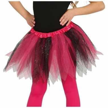 Heksen verkleed petticoat/tutu roze/zwart glitters voor meisjes
