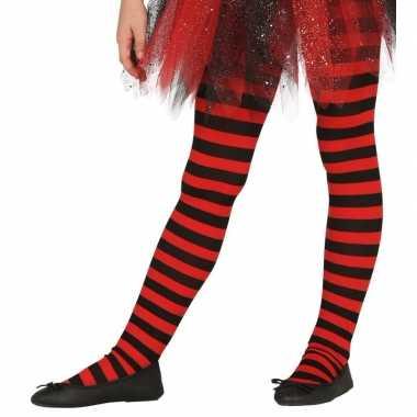 Heksen verkleedaccessoires panty maillot rood zwart voor meisjes