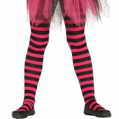 Heksen verkleedaccessoires panty maillot zwart roze voor meisjes
