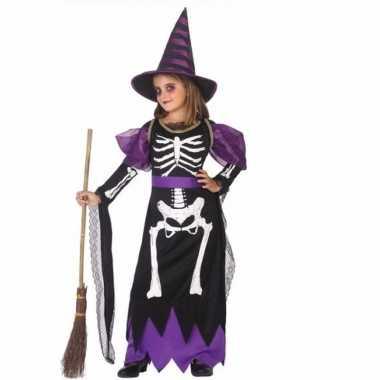 Heksen verkleedjurk met skelet voor meisjes