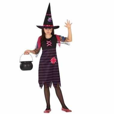 Heksen verkleedjurk zwart/paars 2 delig voor meisjes