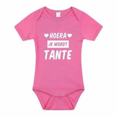 Hoera je wordt tante cadeau baby rompertje roze voor meisjes