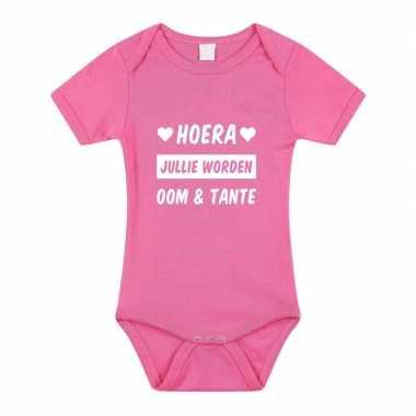 Hoera oom en tante cadeau baby rompertje roze meisjes